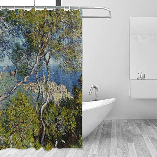 Jsmhh Cortina de Ducha, Mont Boddingham Art Center Chicago USA Cortina de baño Resistente al Agua, al Moho y al Moho, con 12 Ganchos, 152 x 180 cm,