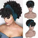 YiTi Hair Headband Wig Afro Curly Hairpieces Wig with Bangs None Lace Front Headband Wigs for Black Women,Synthetic Hair Extensions Kinky Curly Synthetic Full Wrap-wig Short Wig for Women(StyleB-1B#)