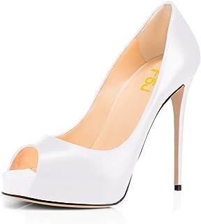 0ac1cb83d9a5 FSJ Women Graceful Peep Toe Pumps High Heels with Platform Slip On Party  Prom Shoes Size