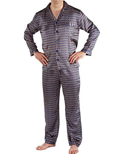 Herren/Gentlemens Nachtwäsche/Satin gedruckt Langarm Pyjama Anzug Set Marine (blau) XXL