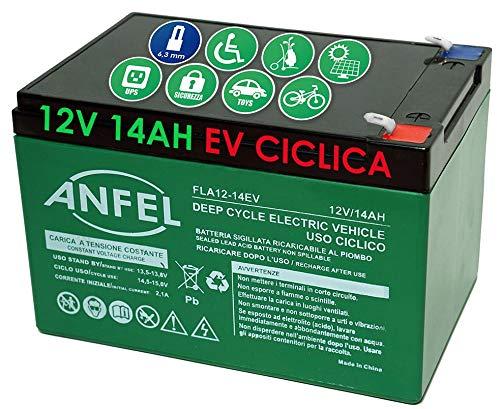 BATTERIA AL PIOMBO RICARICABILE 12V 14AH CICLICA USO CICLICO PER BICI BICICLETTE ELETTRICHE MONOPATTINI QUAD ELETTRICI TRAZIONE ELETTRICA CONNETTORI FASTON 6,35mm DEEP CYCLE 6-DZM-12 6DZM12