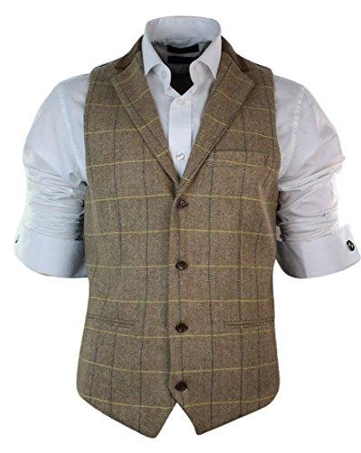 Gilet Homme Tweed à Carreaux et Chevrons Marron Clair chêne Coupe Vintage Slim cintrée
