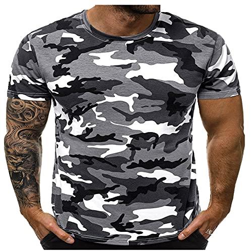 Camiseta deportiva informal de verano para hombre, con cuello redondo, ajustada, informal, cómoda