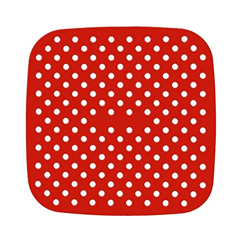 FitBest 1 Pack Reusable Air Fryer Liner Non Stick Silicone Mats 8.5 Inch Square Perforated Pad BPA Free Eco-Friendly Easy to Clean for Air Fryer Steaming Baking Cooking Red