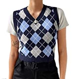 Argyle Sweater Vest Women y2k Plaid Knitted Streetwear Preppy Style V Neck Crop Knitwear Tank Top for Girls Navy-Blue-Grey