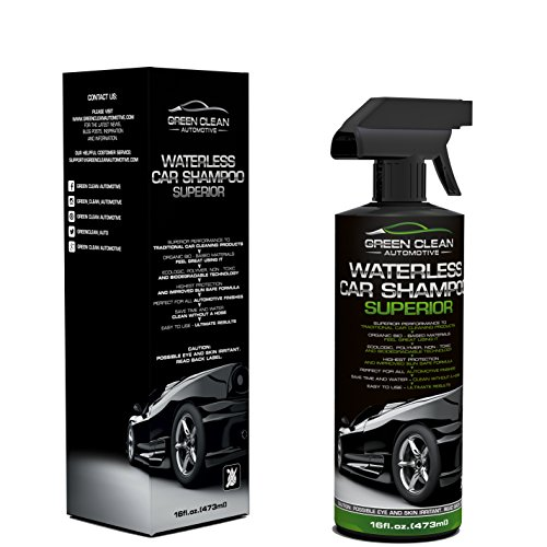 Green Clean Automotive Waterless Car Shampoo Superior - Best Ecological Car Care Product - Spot-Free - Wash Without Hose & Water - Spray On Wipe Off - Ultimate Shine & Protection - Ready To Use 16 oz