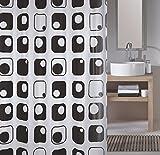 Meusch 2171926305 Duschvorhang Quaddra, 180 x 200 cm, schwarz