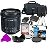 Professional Accessory Kit with Canon EF-S 10-18mm f/4.5-5.6 is STM Lens & SanDisk 32GB Class 10 Memory + Canon 100ES Shoulder Bag + Bundle Package for Canon EOS Rebel T5, T6 Digital SLR Cameras