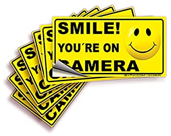 Smile You re On Camera Signs Stickers – 6 Pack 4x2 Inch – Premium Self-Adhesive Vinyl Laminated for Ultimate UV Weather Scratch Water and Fade Resistance Indoor and Outdoor