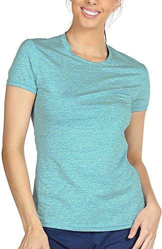 icyzone Sport T-Shirt Damen Kurzarm Laufshirt - Atmungsaktive Fitness Gym Shirt Schnell Trockened Funktionsshirt (XL, Grün)