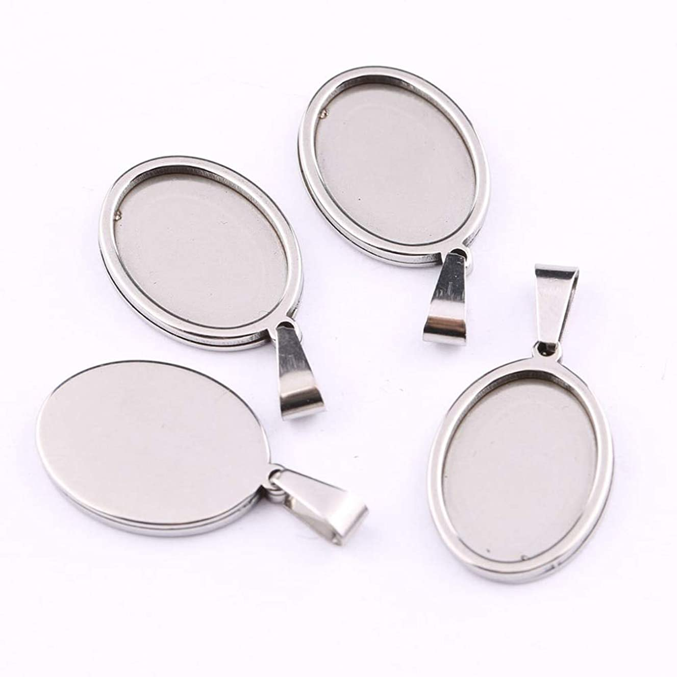 Laliva 5pcs Stainless Steel 13x18mm Dia Oval cabochon Base Setting DIY Blank Cameo Pendant Trays for Jewelry Making