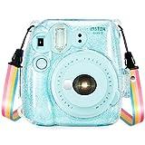 Wolven Clear Camera Case w Adjustable Rainbow Shoulder Strap Compatible with Fujifilm Instax Mini 8, Mini 8+, Mini 9 Instant Camera (Crystal)