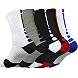 Litthing Calcetines Deportivos Antideslizantes de Algodón para Hombre Desodorante Respirables para Baloncesto Fútbol Yoga de Balonmano Correr Engrosamiento de Ciclismo (Largo, 5)