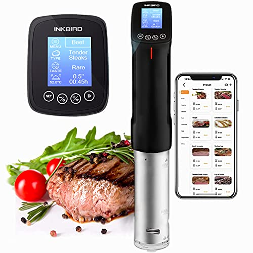 Inkbird WiFi Sous Vide Cooker Culinary Cooker, 1000 Watts, Recipe, Precise Temperature and Timer, Programmable Interface, Stainless Steel Thermal Immersion Circulator for Kitchen