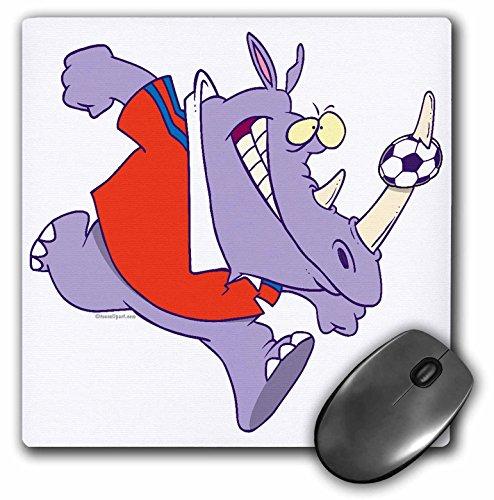 3dRose LLC 8 x 8 x 0.25 Inches Mouse Pad, Silly Soccer Rhino Sports Cartoon (mp_104384_1)