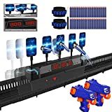 Moving Shooting Target for Nerf Gun, 5 Auto Reset Target, 300'' Long Track, Digital Scoring, 3 Modes Multiplayer interaction, 2 Guns and 40 Darts,Suitable for Shooting Practice, for Kids Boys Girls
