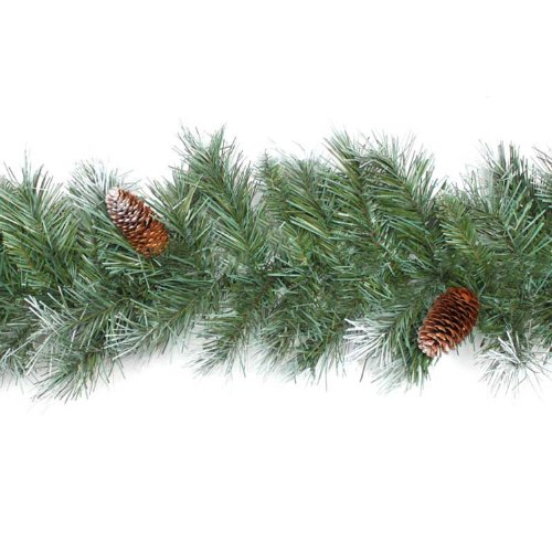 WeRChristmas Scandinavian Blue Spruce Christmas Garland with Pine Cones, 9 feet - Green