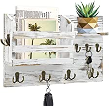 Wood Mail Holder Wall Mounted with Key Hooks, Rustic Key Holder for Wall Decorative, Rustic Wall Mounted Mail Organizer with 8 Key Hooks and 1 Mail Sorter, Rustic Wood Mail Sorter Key Holder
