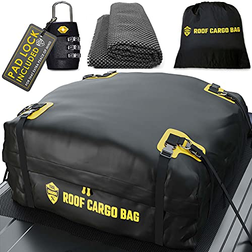 Rooftop Cargo Carrier for Top of Vehicle - Car Top Carrier Roof Bag 15 or 20 Cubic for Cars with or Without Racks