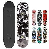 Hikole Skateboard Completo in Legno 79x20 cm in Acero Canadese 31 Pollici, Ruote 85A per...