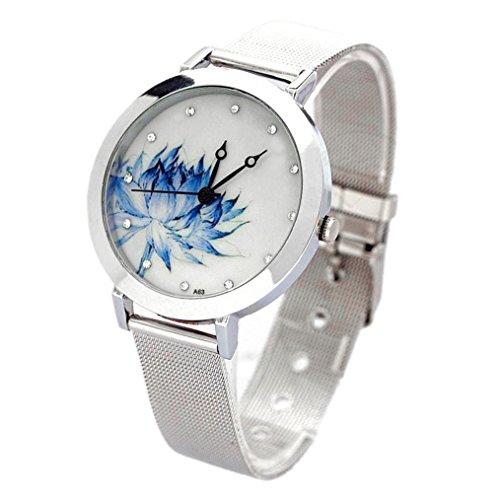 SODIAL(R) Nuovo orologio da polso di quarzo della maglia delle donne il quadrante rotondo del loto blu del regalo di arte del quarzo dell'acciaio inossidabile