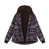 Uhdfjsjd - Cappotto da donna, con bottoni vintage e stampa etnica in pile spesso Outwear autunno inverno caldo Nero M
