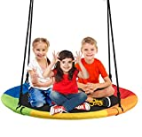 Costzon 40' Waterproof Saucer Tree Swing Set, Indoor Outdoor Round Swing Colorful Rainbow- Adjustable Hanging Ropes, Safe and Sturdy Swing for Children Tree Park Backyard (Multicolor)
