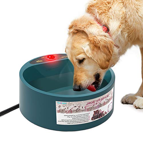 PETLESO Heated Pet Bowl, Heating Outdoor Dog Water Bowl with Anti-bite Wire, 1/2 Gallons 35W Waterer for Dog and Cat