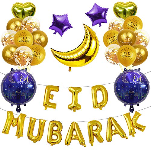 Eid Mubarak Latex Ramadan Balloons Foil Balloons Ramadan Mubarak Party Supplies for Purple Ramadan Balloon Festival Decoration Supplies