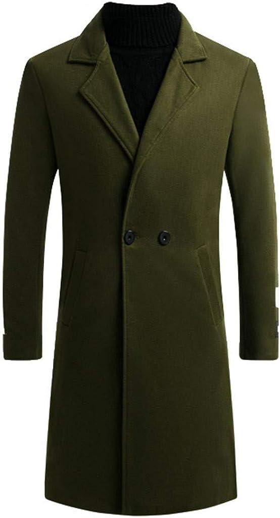 MODOQO Men's Wool Blend Trench Coat Slim Fit Overcoat Outwear Jacket for Autumn Winter