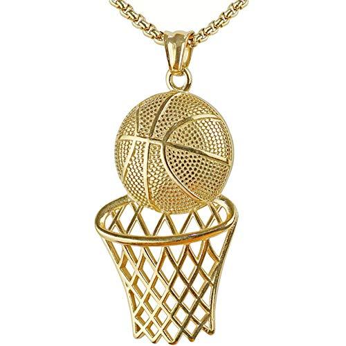 MENCNKI Männer Hip Hop Halskette Basketball Hurdle hängende Halskette mit Kette für Herren und Damen Schmuck Geschenke Valentinstag,Gold