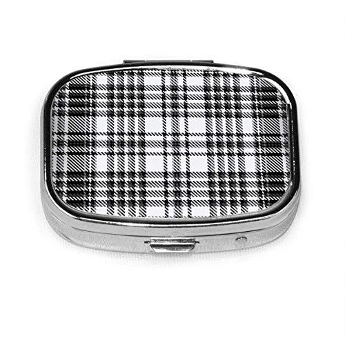 Tartán Plaid Belleza abstracta Moda personalizada Moda Plata Cuadrado Caja de pastillas Medicina Tableta Titular Cartera Organizador Estuche fo