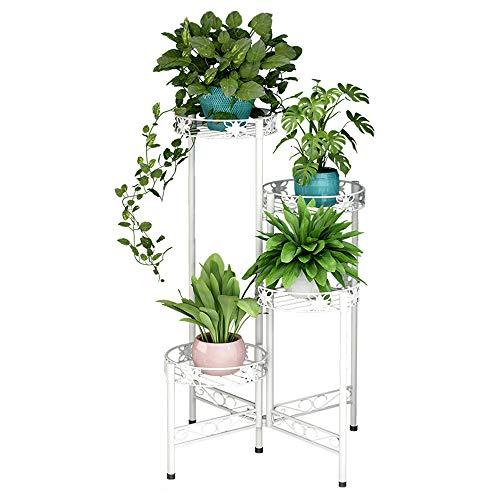 ZZBIQS Soporte para flores de metal con 4 niveles, escalera