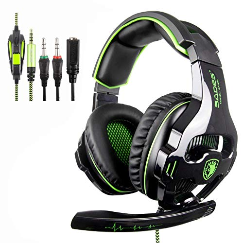 [SADES SA810 Xbox One Mic PS4 Gaming Headset] 3.5 mm con Cable Over Ear Xbox One Auricular con micrófono Deep Bass Auriculares para PS4 Xbox One PC Laptop Mac iPad