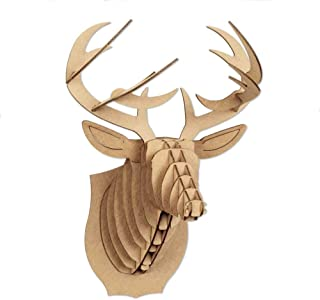 Cardboard Safari Mailable Nano Animal Heads (Deer, Brown)