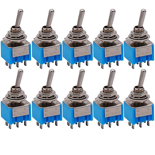 10Pcs mts-202 6A 125VAC 6-Pin DPDT ON/ON 2 Position Mini Toggle Switch hot Sale