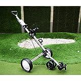 YUHT Chariot de Golf à Chariot à Pousser, Chariot de Golf à 4 Roues avec Support de Bouilloire Chariot de Golf pour Tableau de Bord, Porte-gobelet, Support de téléphone, Porte-Parapluie