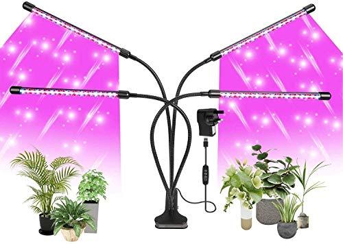 LUZ DE PLANTAS,LUCES DE CULTIVO PARA PLANTAS DE INTERIOR, 120 LED Luz de cultivo LED 3000K 5000K 660nm de espectro completo,10 niveles de atenuación y lámpara de cultivo de 4 cabezas con temporizador