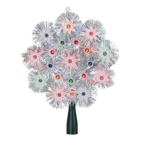 Northlight 8' Lighted Silver Retro Starburst Christmas Tree Topper - Multicolor Lights