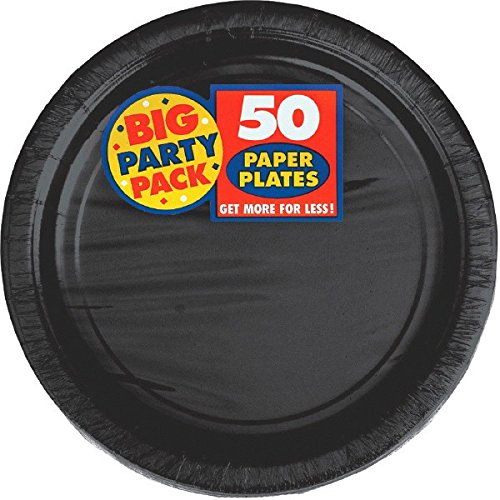 amscan Big Party Pack Jet Black Paper Plates | 7' | Pack of 50 | Party Supply