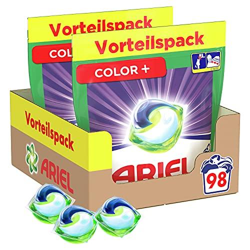 Ariel Waschmittel Pods All-in-1, Color Waschmittel, 98 Waschladungen (2 x 49) Frischer Wäscheduft und Farbschutz