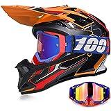 Yase Casco de moto de cross con gafas, casco de motocross, casco Enduro Downhill, gafas de moto offroad, unisex, casco completo para ciclomotores, ATV, bicicleta de montaña