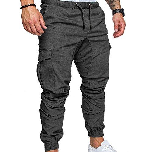 GEZICHTA Pantaloni Corti da Uomo, Moda Uomo Tuta Sportiva Coulisse Pantaloni Casual Pant Jogger Fondo Lungo Misto Cotone Allenamento Pantaloni da Ginnastica Pantaloni, Dark Grey, XL