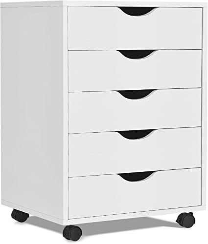discount Giantex 2021 5-Drawer Vertical File Cabinet, Mobile Office Storage Cabinet with Drawers, Large Capacity, 2 Lockable Casters and Universal Wheels, Under Desk online sale Side Printer Stand Rolling File Cabinet (White) online sale