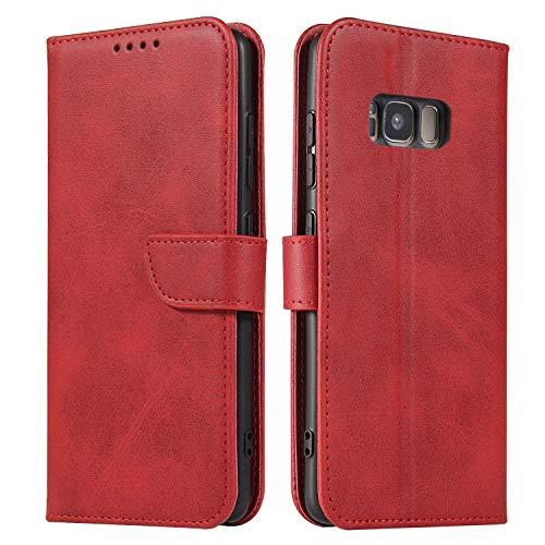 Ancase Custodia Portafoglio per Samsung Galaxy J3 2017 Rosso Flip Cover in Pelle aLibro Wallet Case Porta Carte per Donna Ragazza Uomo