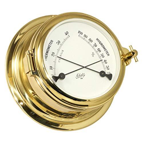 Delite Schatz 450HT Thermometer Hygrometer Bullauge Messing B x H: 155mm x 68mm