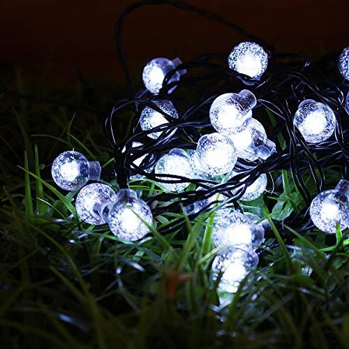 Guoxiaxue Luces de Cadena con energía Solar de 21 pies 30 Bolas de Cristal Hogar al Aire Libre DIRIGIÓ Luces de Hadas Decoraciones LED Luces de Cadena al Aire Libre (Color : White)