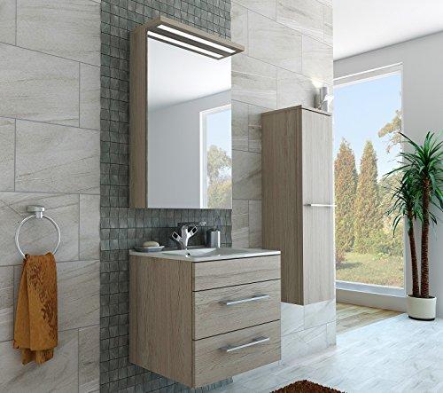 Design badkamermeubel hoge kast + spiegelkast + onderkast + wastafel 60 cm in de kleur bruin/lichtbruin/LED/soft-close/montageklaar/Made in Germany