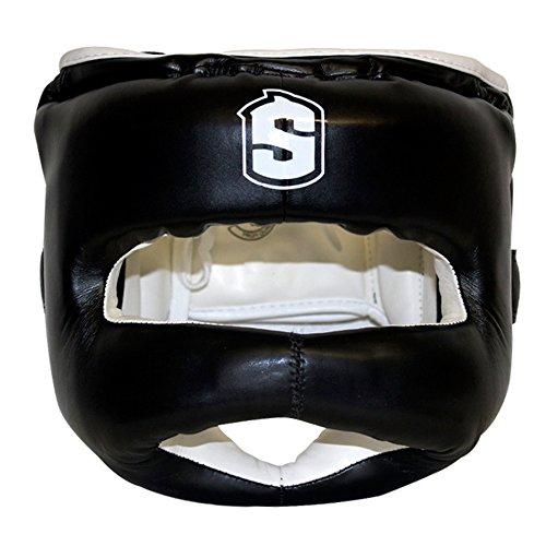 Sharkboxing Iron Man - Casco de boxeo, color negro, talla única