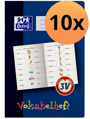 Oxford 100057954 Vokabelheft mit Lernsystem 10er Pack Format A4 16 Blatt Lineatur 3V Grundschule für die 3.Klasse